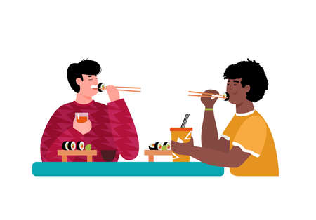 Two friends man cartoon characters eating sushi in japanese restaurant, vector illustration isolated on white background. Japanese cuisine cafe or takeaway service.