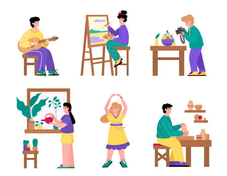 Set of people cartoon characters and their creative and artistic hobbies, flat vector illustration isolated on white background. Leisure activity and handcrafting.