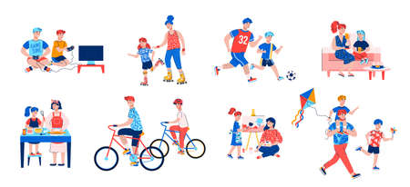 Parent and child activity set - cartoon mother and father playing with children isolated on white background. Happy family leisure time, vector illustration.