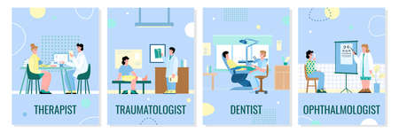 Set of Medical examination banners with people visiting doctors such as therapist and traumatologist, dentist and ophthalmologist, flat cartoon vector illustration. 矢量图像