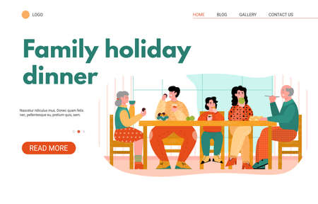 Web page banner template with family holiday dinner and reunion of family generations at festive table scene, cartoon vector illustration on white background. 일러스트