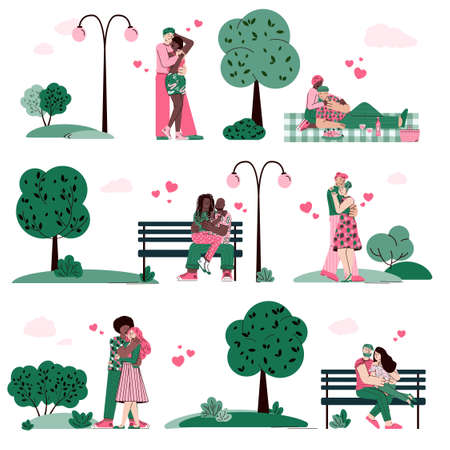 Loving couples dating and hugging in summer park among green trees, cartoon vector illustration isolated on white background. Love relationships and romantic.