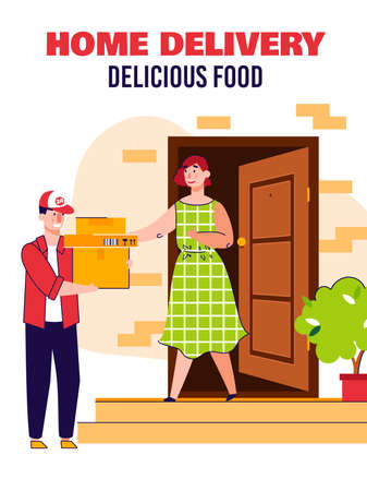 Home food delivery poster with courier man delivering cardboard box packages to woman at house door step. Vector illustration of client receiving order, vector illustration.