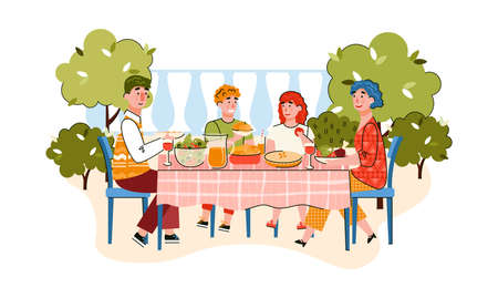 Family of parents and children eating in garden or house backyard, cartoon vector illustration isolated on white background. family joint activity and recreation. 일러스트