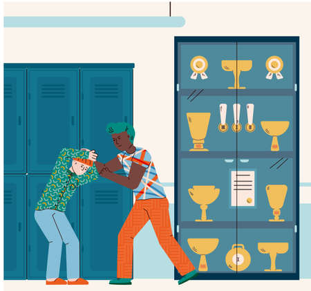 Bully oppression and bullying in school or college with teen boys characters fighting, cartoon vector illustration. Problem of abuse and aggression between adolescents.