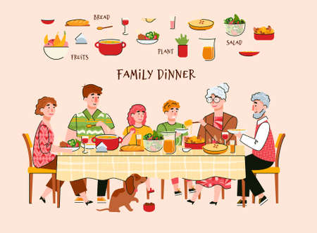 Family dinner scene with parents, grandparents and children characters eating at table, vector illustration. Family joint recreation and traditions concept. 일러스트