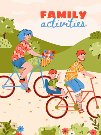Family activities poster with family riding bike cartoon vector illustration. Parents and children cycling around the countryside and having a bike ride. 일러스트