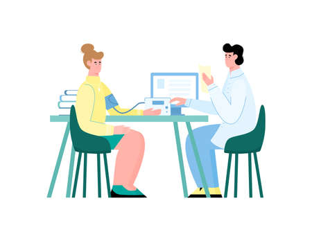 Doctor and patient doing blood pressure measure procedure with electronic meter. Woman and medical professional sitting at table in hospital, isolated vector illustration