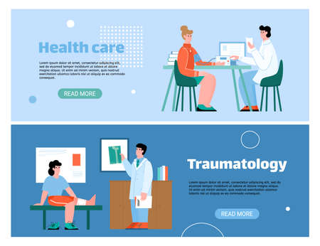 Medical healthcare horizontal banners with patients on doctors appointment, flat cartoon vector illustration. Therapist and traumatologist accept patients. 矢量图像