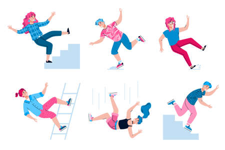 Set of falling people getting injured and wounded, flat vector illustration isolated on white background. Risk of trauma and accident injury collection.