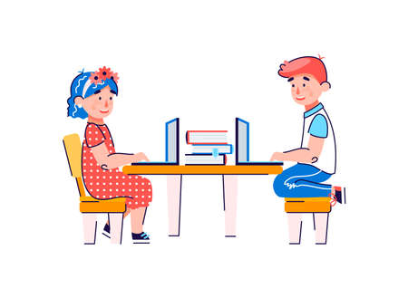 A boy and a girl study at the table with books and laptops. Online distance education and Internet resources for children. Cartoon vector illustration isolated on a white background.