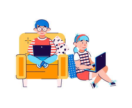 Kids using laptops for distance education, communication or entertainment. Online lessons and internet resources for children. Cartoon vector illustration isolated on a white background. 일러스트