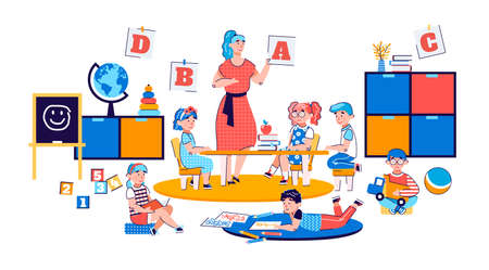 Kids play educational games in kindergarten. Children in a class with a woman teacher are preparing for school. Concept of preschool. Cartoon vector illustration on a white background