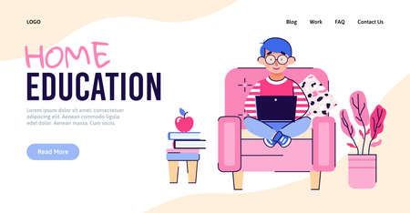 Home education banner with cartoon boy learning on laptop while sitting on living room chair. School pupil learning online, website page template vector illustration 일러스트