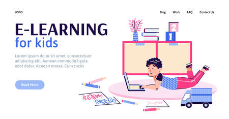 The concept of home e-learning for children. A preschool child in his room uses a laptop for distance online education. Landing page template. Vector cartoon illustration for web.