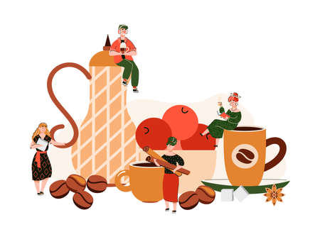 Coffee shop composition with tiny people holding cups and spices for hot drinks. Cozy cafe table concept with beverages, pitcher and fruit in bowl, vector illustration.