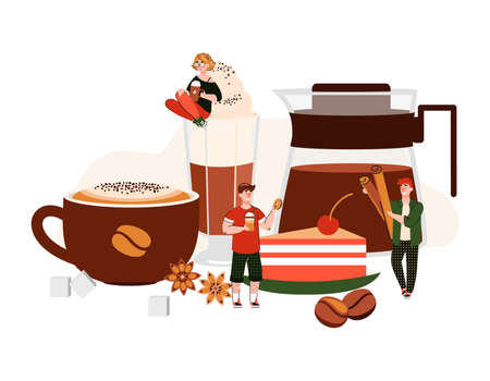 Coffee poster with cartoon people among giant drink cup, glass and pot with hot spiced beverage. Cafe meal concept with tiny coffee lovers, isolated vector illustration. Ilustração
