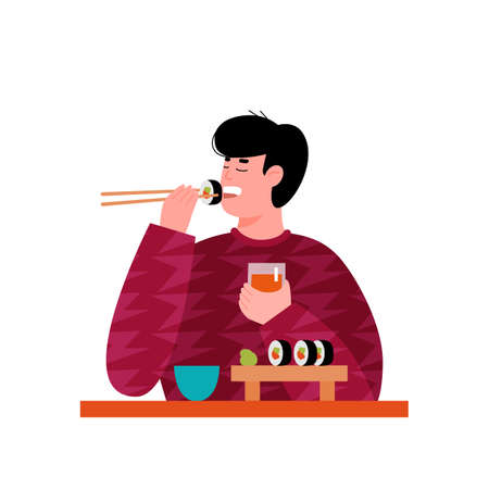Young man or guy cartoon character enjoying sushi, flat vector illustration isolated on white background. Man eating popular Japanese food in restaurant or at home.