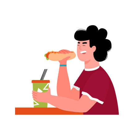 Man eating hot dog and holding takeaway drink cup. Cartoon boy at cafe table with fast food snack and beverage isolated on white background, vector illustration.