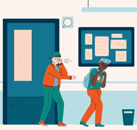 School bully bullying sad victim - cartoon boys in corridor interior. Mean child harassing and teasing unhappy African classmate trying to walk away, vector illustration. 일러스트