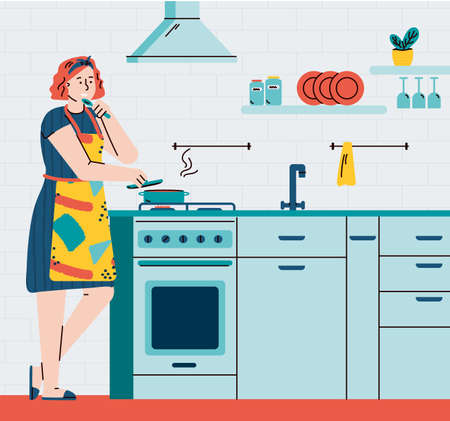Busy housewife woman cartoon character cooking in home kitchen interior, flat vector illustration. Householding works and womens leisure activity banner.