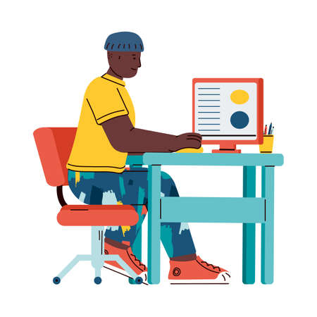 African college student or school boy using computer. Online education concept with cartoon teenager sitting behind learning desk, isolated vector illustration.