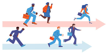 Business people running a career race - corporate teams of workers competing for success. Sprint racing of two arrows with men and women group, vector illustration.