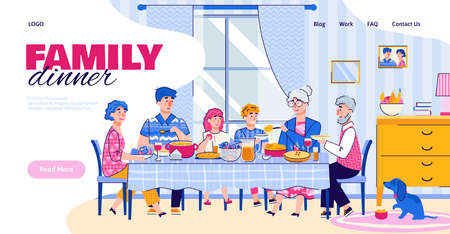 Website banner with family having a dinner together at big table, cartoon vector illustration on white background. Landing page with family celebration and festive meal.