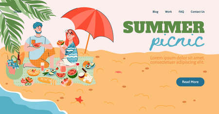 Summer picnic website page mockup with young couple having outdoor meal on seacoast, flat cartoon vector illustration. Picnic and barbecue party arranging.