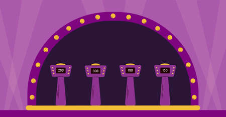 Empty illuminated stage of quiz TV show shooting with stands for players, flat cartoon vector illustration. Interior background of quiz entertaining game.