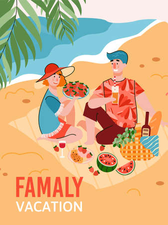 Family vacation banner or poster depicting young couple having a picnic on tropical sea beach, flat cartoon vector illustration. Summer travel and holidays.