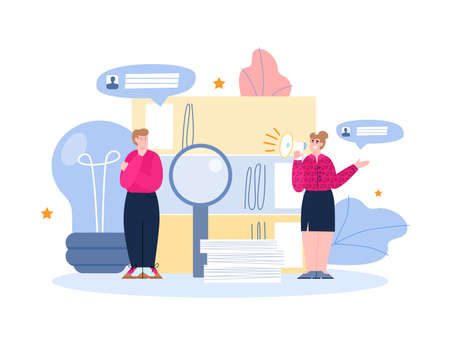 The concept the search and hiring new employees or workers. HR managers are offer vacancies for jobs and career. Welcome to the team. Flat colorful vector illustration.