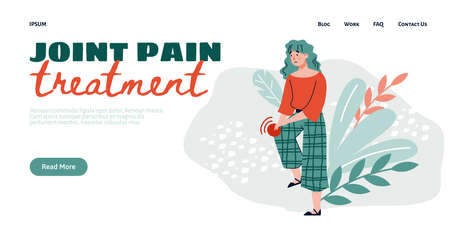 Joint pain treatment web banner template with cartoon character of woman having pain in knee joint, flat illustration. Sickness of human musculoskeletal system. Vector Illustration