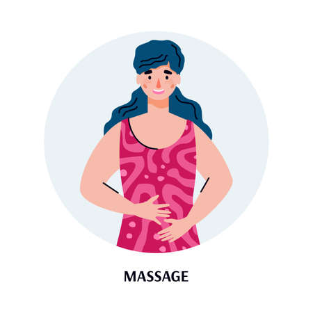 Woman cartoon character massaging her belly trying to relieve stomach ache, flat illustration isolated on white background. Home treatment of stomach pain.