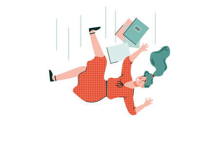 Shocked young woman with books is falling down. Accident, injury, dismissal from work or expulsion from an educational institution. Vector cartoon isolated illustration. Vetores