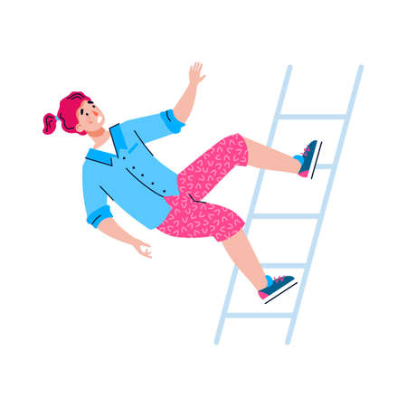 Shocked young woman or girl is falling down from a staircase. Concept of accident, injury, misfortune or failure. Cartoon vector illustration isolated on a white background Vetores