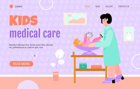 A female doctor examines a baby lying on a scale and holding a rattle. Vector illustration newborn infant kid and female medical specialist or nurse. Landing page template. Illustration
