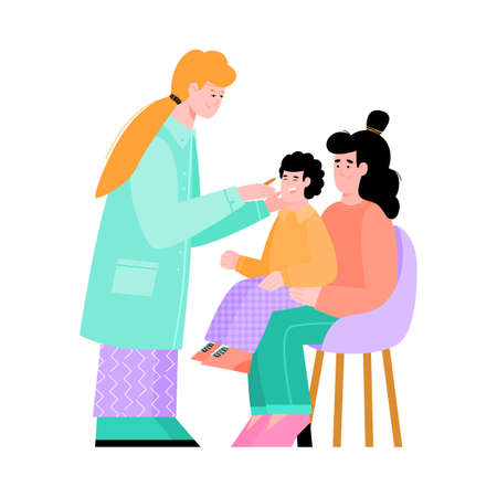 Mother and baby boy visit the pediatrician. The family doctor conducts a medical examination of the child. Flat cartoon vector illustration isolated on a white background