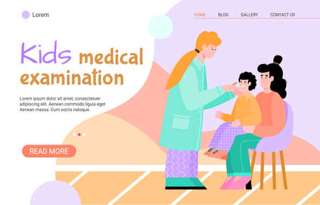Kids medical examination web banner with mother and child at reception at the pediatrician, flat cartoon vector illustration. Podiatry and childrens healthcare. Illustration