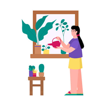 A woman at home grows plants in pots. A young girl enjoys her gardening hobby. Care of plants. Flat cartoon vector illustration isolated on a white background.