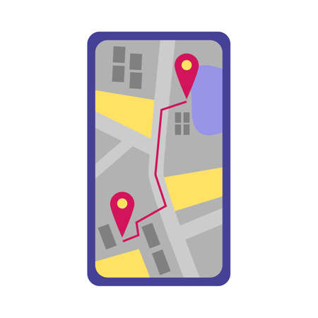 Mobile phone screen with map, GPS location and taxi route. Addresses on the city map. App for online taxi ordering. Flat vector illustration isolated on a white background. Illustration