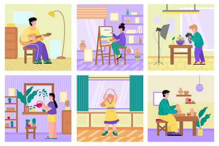 Set of people performing free time activities and hobbies, flat cartoon vector illustration. People home different leisure and hobby banners collection.