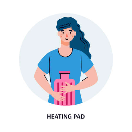 Woman heating her stomach with heating pad, flat cartoon vector illustration isolated on white background. Stomach pain and discomfort treatment and relief concept. Vektorové ilustrace