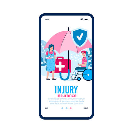 Mobile interface on phone screen with medical app for accident insurance. Medicine and healthcare for patients with fractures and injuries. Vector flat cartoon illustration Vector Illustratie