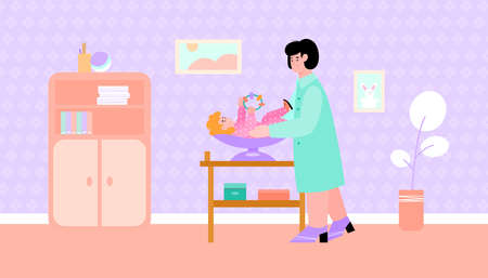 A female doctor pediatrician examines a baby lying on a scale and holding a toy. Vector flat cartoon illustration of newborn infant kid and medical specialist or nurse
