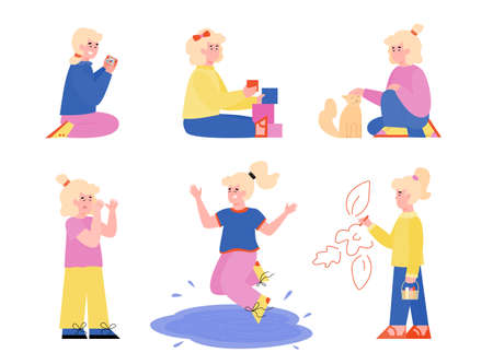 Set of cartoon little girl characters demonstrating bad and good behavior, flat vector illustration isolated on white background. Parenting and behavior correction.