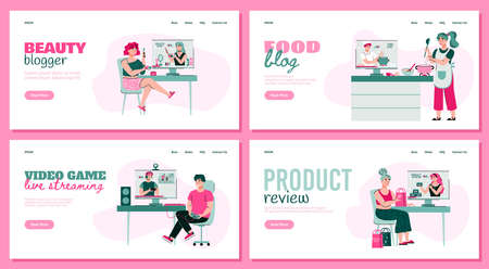 People watching online video bloggers - website banner set with cartoon viewers looking at beauty or food tutorial, video game stream or product review, vector illustration.