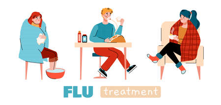 Home flu treatment banner with cartoon people doing home therapy procedures, flat vector illustration isolated on white background. Cold season disease self healing.