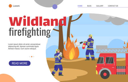 Wildland firefighting forces web banner template with fighters and rescues characters in forest, flat cartoon vector illustration. Emergency fire brigade website.