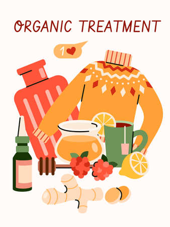 Organic treatment for cold or flu virus - cartoon poster with home remedy objects. Honey, ginger, lemon tea and other natural cures composition, vector illustration. Ilustração